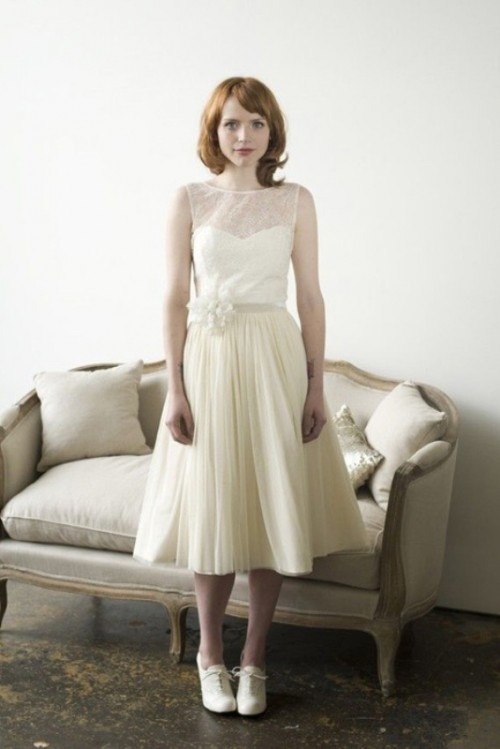 a vintage midi dress with a lace bodice and a pleated skirt, white vintage shoes and a floral sash