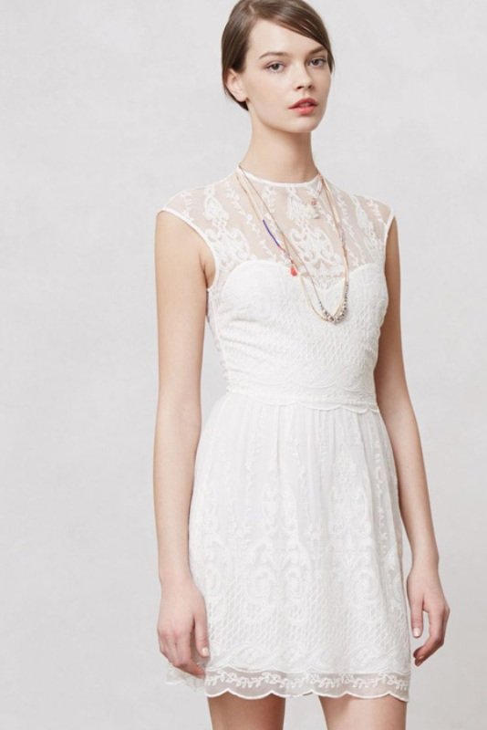 a white lace mini dress with caps sleeves, an illusion neckline and layered necklaces for a simple city hall elopement