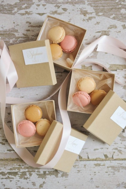 colorful macarons in boxes are a timeless favor idea for a wedding or rehearsal dinner