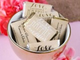 wrap chocolate bars into personalized paper with printed monograms and various words