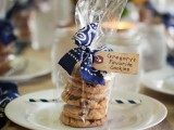 tasty chocolate chip cookies in a pack with a tag to symbolize the groom's faves