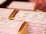 chocolate bars wrapped into personalized paper to mark your rehearsal dinner and wedding
