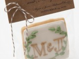 a monogrammed glazed cookie can be made by you yourself – a great favor for weddings and rehearsal dinners