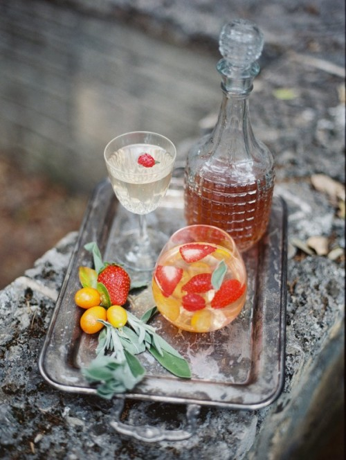 enjoy refreshing drinks with fresh kumquats and strawberries and refresh your guests with them, too