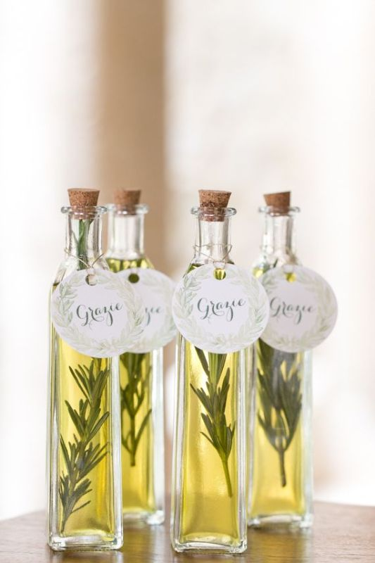 give fresh olive oil with rosemary inside as wedding favors, everybody will love it a lot
