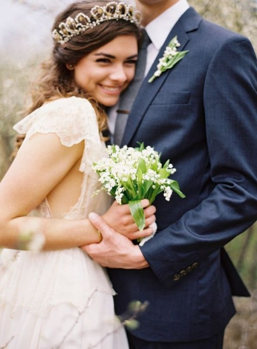 go for amazing lily of the valley wedding bouquet and buttonhole for a lovely relaxed and chic look