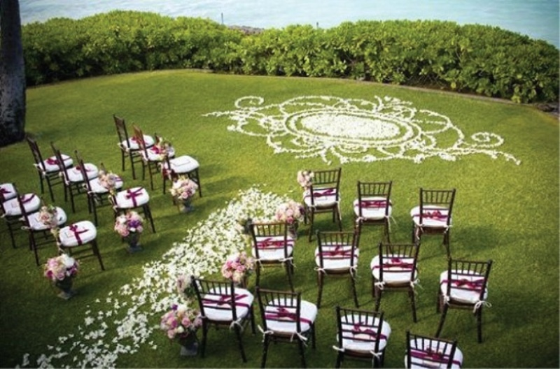 picture of romantic wedding aisle petals decor ideas