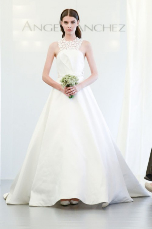 a princess style wedding dress with a lace floral halter neckline is a chic idea for a wedding