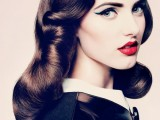 dark vintage curls on middle length hair look very chic and elegant and highlight your feminity