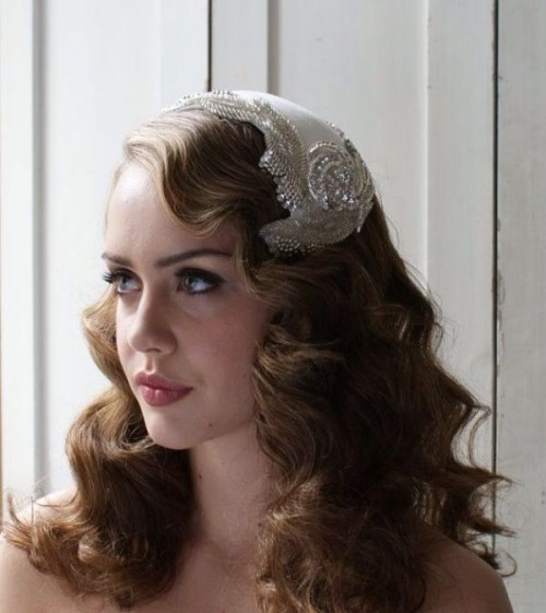 elegant long Hollywood waves with an embellished Juliet cap veil for a chic vintage look