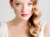 Hollywood waves on one side are a statement hairstyle that will fit a vintage bride