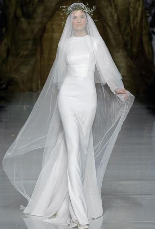 25 swoon worthy sheath wedding dresses weddingomania for Sheath wedding dress body type
