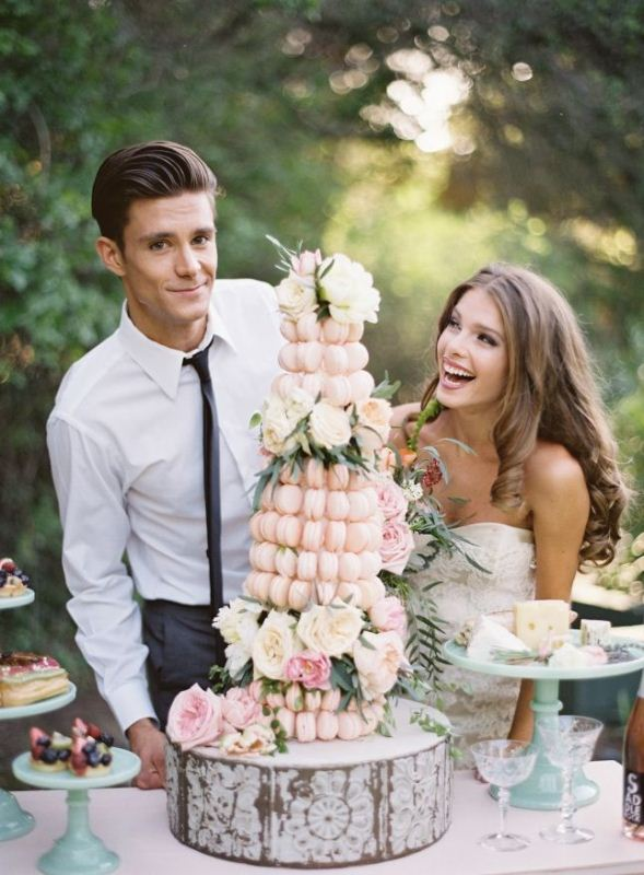 Picture Of trendy and unique macaron tower wedding cakes  1