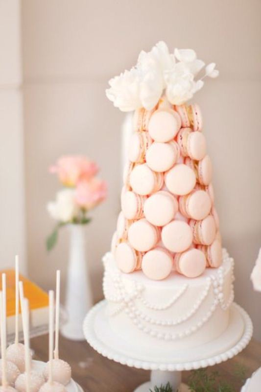 Picture Of trendy and unique macaron tower wedding cakes 10