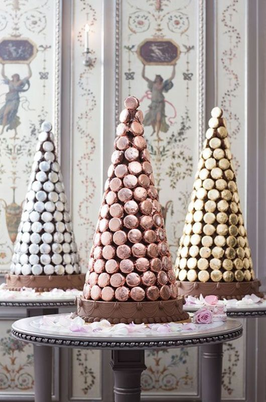 Picture Of trendy and unique macaron tower wedding cakes  12