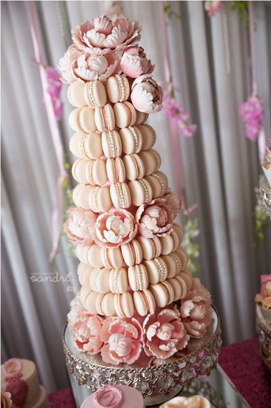 Picture Of trendy and unique macaron tower wedding cakes  19