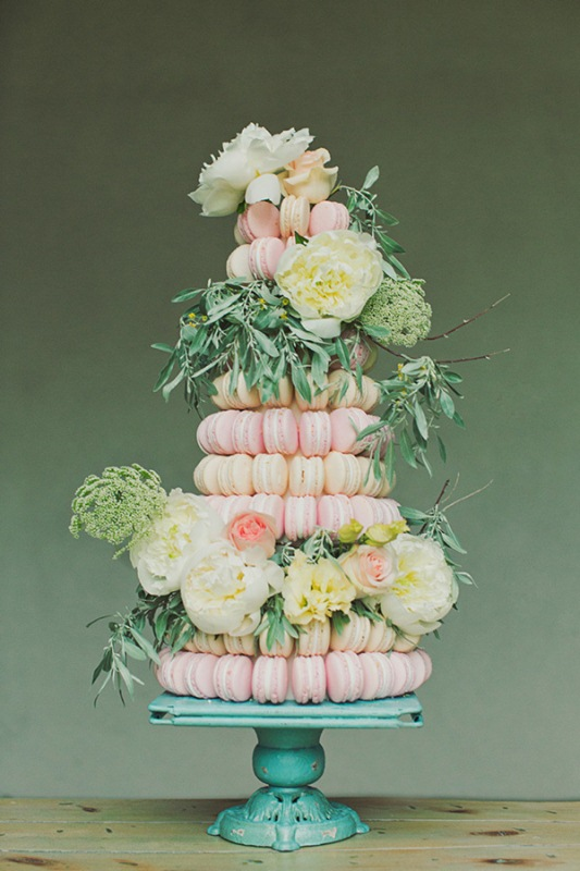 Picture Of trendy and unique macaron tower wedding cakes  2