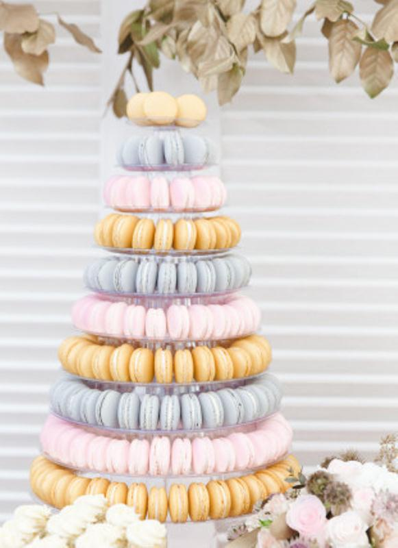 Picture Of trendy and unique macaron tower wedding cakes  21