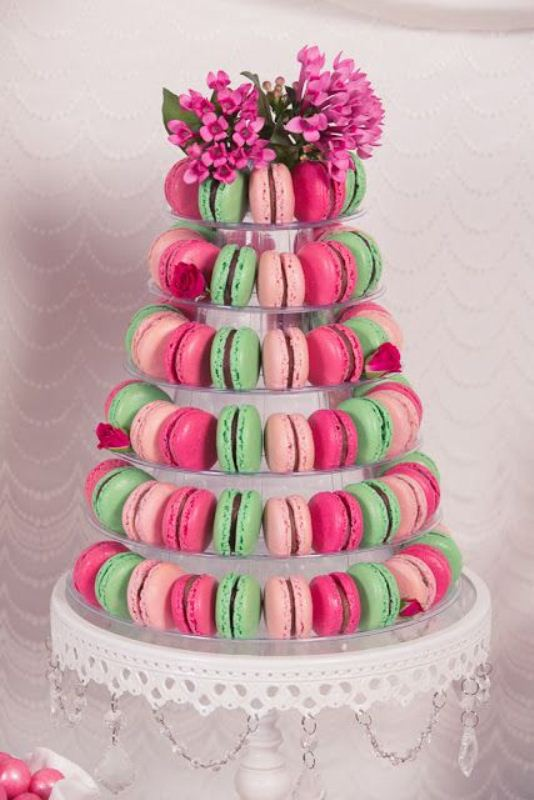 Picture Of trendy and unique macaron tower wedding cakes  23