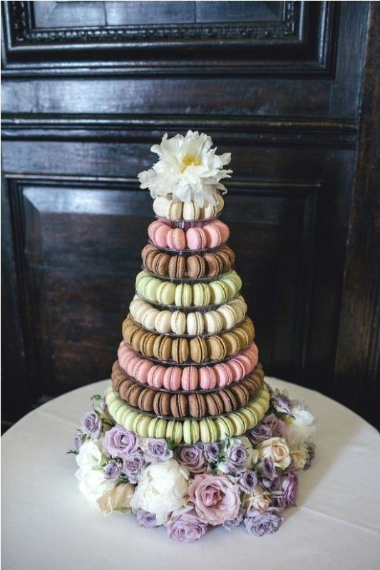 Picture Of trendy and unique macaron tower wedding cakes  24