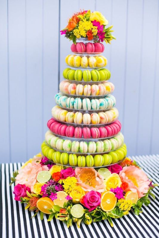Picture Of trendy and unique macaron tower wedding cakes  3