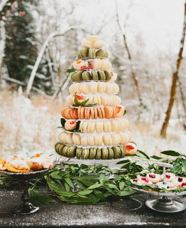 Picture Of trendy and unique macaron tower wedding cakes  5