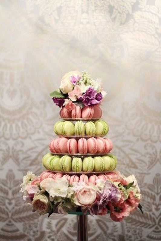 Picture Of trendy and unique macaron tower wedding cakes  6