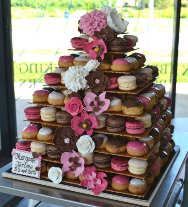Picture Of trendy and unique macaron tower wedding cakes  8