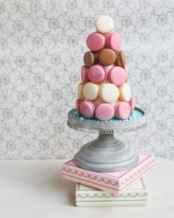 Picture Of trendy and unique macaron tower wedding cakes  9