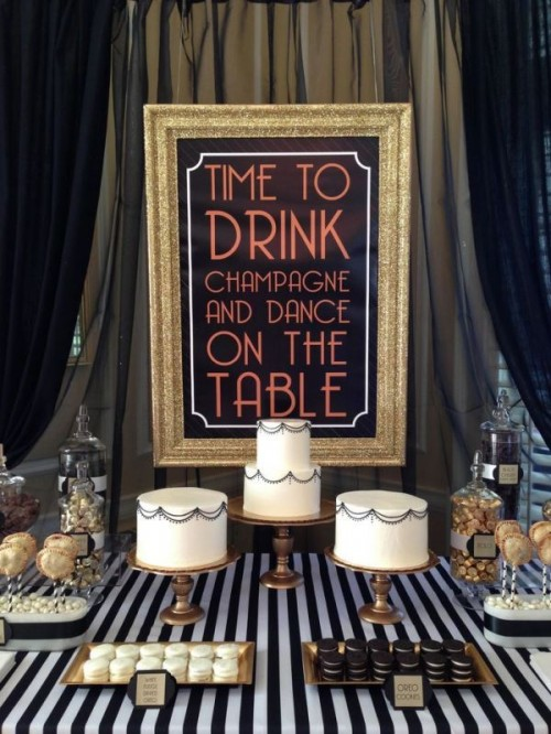 25 vintage inspired great gatsby themed rehearsal dinner for Art deco party decoration ideas