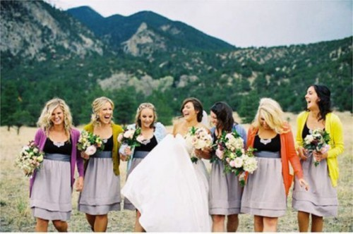 cardigans of all the rainbow colors will brighten up the look of the bridal party and make the outfits more cheerful