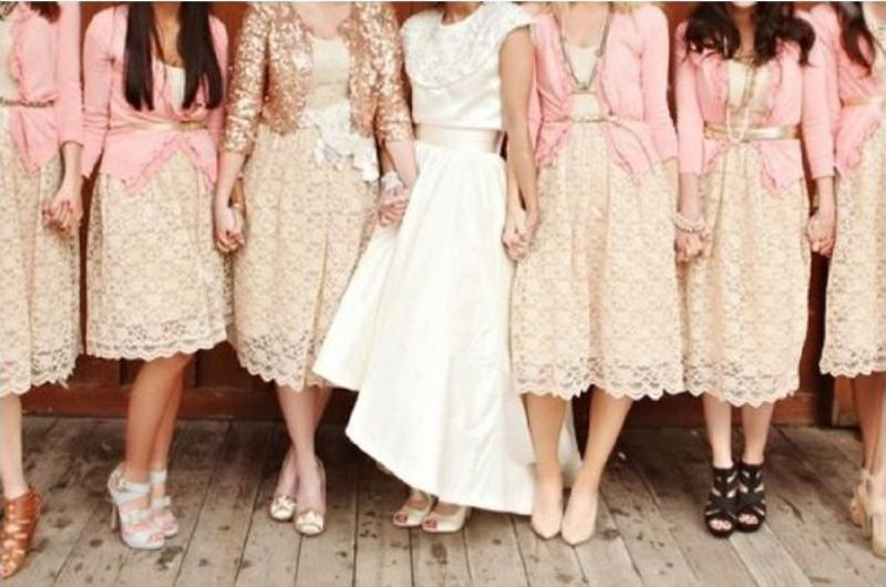 light pink cardigans and neutral lace bridesmaid dresses make up girlish and super cute looks