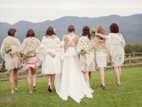 different neutral crochet coverups for the bridesmaids to make them look more casual, relaxed and feel warm