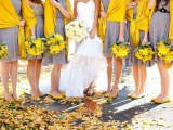bright yellow coverups match the shoes and bouquets with grey bridesmaid dresses are amazing for a fall wedding