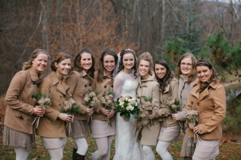 short camel and ocher coats are great for fall and winter bridesmaids, if it's cold outside