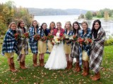 some plaid coverups are an amazing idea for a rustic wedding, they match the cowboy style boots of the girls