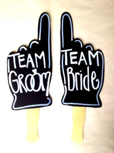 chalkboard props for team groom or team bride will fit many wedding pics showing who is who