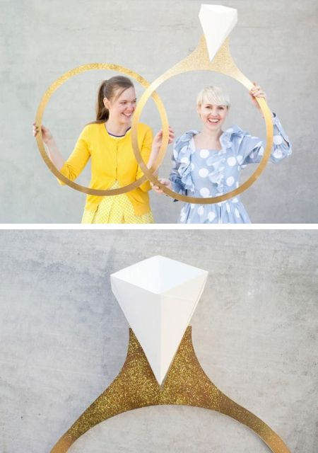 giant paper rings can be used for both bridal shower and wedding photo booths