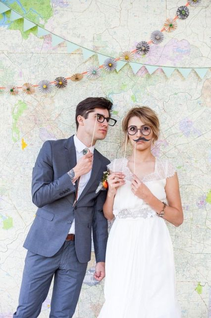 funny glasses and moustache props are classics for any party or wedding photo booth
