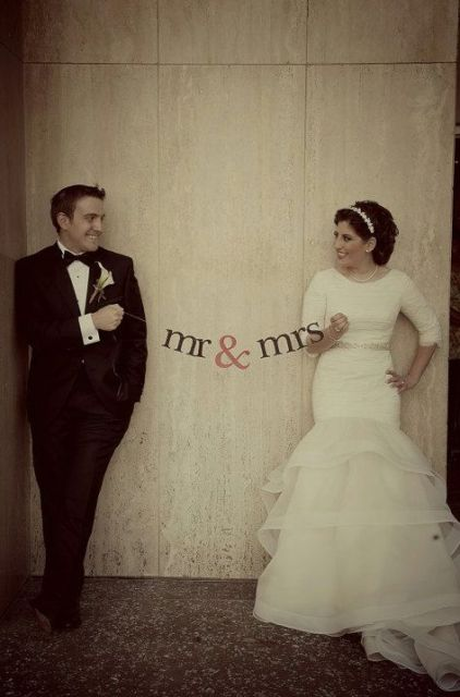 Mr and Mrs banner is a cool and easy prop idea  for your wedding photo booth