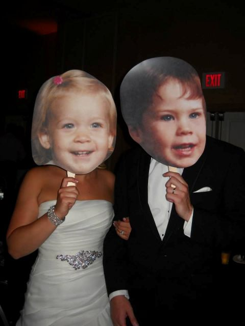 the couple's childhood pics are very funny props that will make your wedding photos hilarious