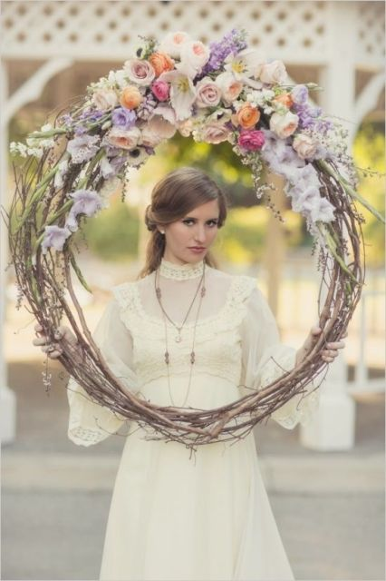 a wreath with bright blooms on top is a great idea for romantic girlish shots