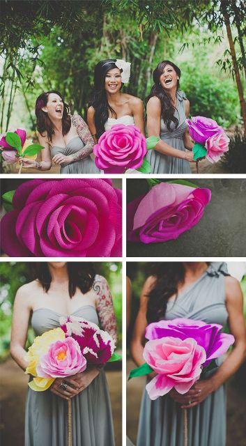 large bold and bright paper flowers are budget-friendly props that you can easily DIY for your photo booth