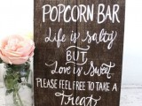 a rustic popcorn wedding bar sign can be easily DIYed to mark your station