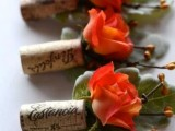 wedding boutonnieres with wine corks and bright blooms and greenery are amazing for vineyard weddings