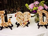 cork monograms and a cork heart are a chic and fun idea to decorate the space easily and personalize it