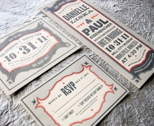 a whimsy and fun wedding invitation suite in grey, red and white is chic and creative
