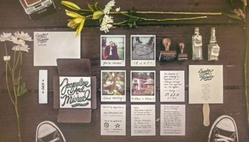 a wedding invitation suite done with invites and Polaroids of your couple is a very customized idea