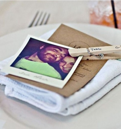 accent each place setting with a Polaroid attached to the menu or napkin, it's a cool way to personalize the tablescape