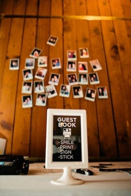 a guest book designed of Polaroids is a cool and very modern idea with a nostalgic touch